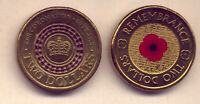 2012 & 2013 RED POPPE AND PURPLE CORONATION $2 COINS  NO  RE