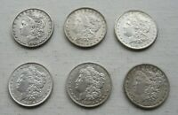 MORGAN SILVER DOLLARS DATED 1881, 1881 O, 1881 S, 1887, 1887 O, AND 1887 S