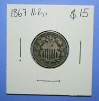 1867 SHIELD NICKEL FIVE CENT COIN - NO RAYS     [1119GCM]