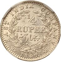 INDIA 1840 1/4 RUPEE  MULE NGC MS61 LUSTROUS SILVER