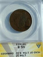 ANACS 1794 S32  FLOWING HAIR HEAD OF 1794 VG8 LARGE CENT ONE COIN FROM DEALER