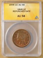 1848 BRAIDED HAIR LARGE CENT 'REPUNCHED DATE' ANACS AU 58