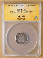 1832 CAPPED BUST DIME ANACS VF 35 DETAILS