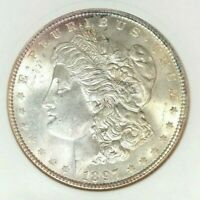 1897 MORGAN SILVER DOLLAR - ANACS MINT STATE 64 VAM 6A TOP 100 BEAUTIFUL COIN REF225