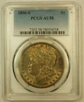 1890-S MORGAN SILVER DOLLAR $1 PCGS AU-58 BEAUTIFULLY TONED