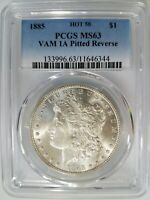 1885 MORGAN SILVER DOLLAR PCGS MINT STATE 63 VAM 1A PITTED REVERSE MINT ERROR HOT 50