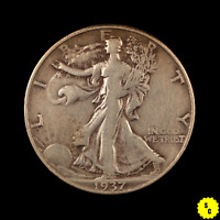 1937-D WALKING LIBERTY HALF DOLLAR, VF CONDITION,  OLD US SILVER COIN