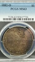 1882-O MORGAN SILVER DOLLAR PCGS MINT STATE 63 TONED