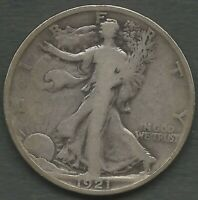 1921 P WALKING LIBERTY KEY DATE 246K MINTED VG COND. WITH RIM DING