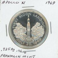 APOLLO XI MOON MISSION MEDAL STERLING SILVER FRANKLIN MINT   PIONEERS OF ROCKETS
