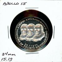 SPACE MEDAL   APOLLO 15 .999 SILVER PROOF HOFFMAN & HOFFMAN MINT