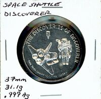 SPACE MEDAL   SPACE SHUTTLE DISCOVERER .999 SILVER PROOF RARITIES MINT