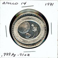 SPACE MEDAL   APOLLO 14 .999 SILVER PROOF LOMBARDO MINT