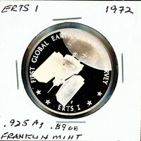 SPACE MEDAL   ERTS 1 SATELLITE .925 SILVER PROOF FRANKLIN MINT
