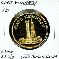 SPACE MEDAL   CAPE KENNEDY GOLD PLATED SILVER PROOF FRANKLIN MINT