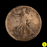 1919-D WALKING LIBERTY HALF DOLLAR, VG DETAILS, STAINED, SEMI-KEY DATE SILVER