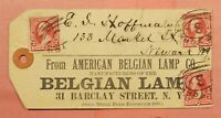 1890S PARCEL TAG AMERICAN BELGIAN LAMP CO NY CITY