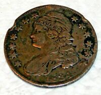 1834 CAPPED BUST HALF DOLLAR,  FAIR, RIM DAMAGE, LIBERTY NOT RUBBED ON TEXT