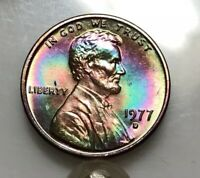 1977 D BU LINCOLN CENT MONSTER RAINBOW TONED
