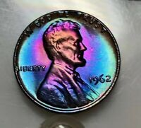 1962 BU LINCOLN CENT MONSTER RAINBOW TONED