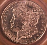 1890 S, MORGAN SILVER DOLLAR, ANACS MINT STATE 60, CLEANED, VAM FINDINGS, 90 SILVER