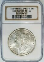 1889 SILVER MORGAN DOLLAR NGC MINT STATE 64 VAM 5A DBR BAR WING EAR MINT ERROR BARWING
