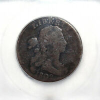 1802 UNITED STATES DRAPED BUST LARGE CENT NO STEMS ICG G04 GOOD DETAILS