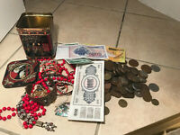 OLD TEA CADDY OLD BRITISH & WORLD COINS BANKNOTES TOKENS VIN