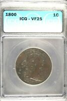 1800 - ICG VF25 DRAPED BUST LARGE CENT   HD0150
