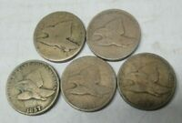 LOT OF 5 FLYING EAGLE SMALL CENTS LOWER GRADE CONDITION 1857