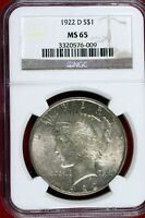 1922  - D NGC MINT STATE 65 PEACE DOLLAR HD0228