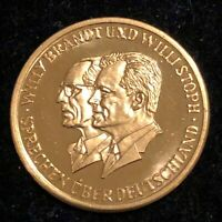 WILLY BRANDT AND WILLI STOPH 1970 GOLD MEDAL 1/10 OZ .999