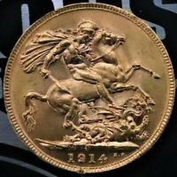 SOVEREIGN 1914 GEORGE V LONDON GREAT BRITAIN GOLD HIGH GRADE