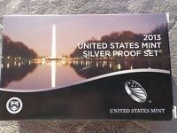 2013 S SILVER PROOF US MINT ATB SET   13 COINS  WITH BOX & C