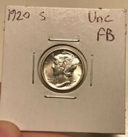 1920 S MERCURY DIME UNCIRCULATED FULL BANDS MS FB BETTER EAR