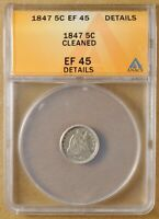 1847 SEATED LIBERTY HALF DIME ANACS EF 45 DETAILS
