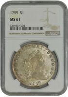 1799 DRAPED BUST DOLLAR $ MINT STATE 61 NGC 942668-7