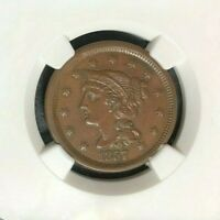 1857 SMALL DATE BRAIDED HAIR LARGE CENT - NGC AU 55 BN BEAUTIFUL LOOKING COIN