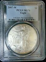 2007 W SILVER EAGLE PCGS GRADED MS70,  LIGHT GOLD TONING