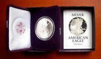 AMERICAN SILVER EAGLE 1991-S PROOF IN WITH BOX, CLAMSHELL CASE & COA