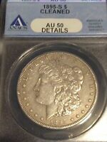 1895-S $1 MORGAN DOLLAR, ANACS AU-50 DETAILS, CLEANED,   DATE