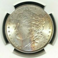 1887 NGC MINT STATE 64 TONED MORGAN SILVER DOLLAR-GENE L.HENRY SILVER DOLLAR REF 151