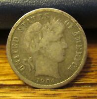 1904 S BARBER DIME MINTAGE OF ONLY 800 000 DECENT DETAIL AND