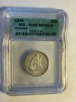 ICG 1858 SEATED LIBERTY QUARTER AU 55