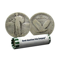 ROLL OF 40 - 90 SILVER STANDING LIBERTY QUARTERS $10 FACE CIRCULATED