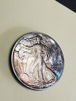 1989 AMERICAN SILVER EAGLE AMAZING TONING TONED 1OZ $1