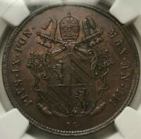 1848 R III ITALY PAPAL STATES 2 BAIOCCHI - PIUS IX - NGC MINT STATE 62 BN