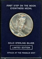 FRANKLIN MINT EYEWITNESS MEDAL   FIRST STEP ON THE MOON