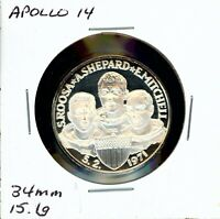 SPACE MEDAL   APOLLO 14 .999 SILVER PROOF