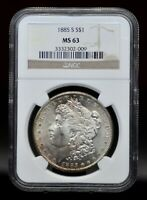 1885-S NGC MINT STATE 63 MORGAN SILVER DOLLAR [030DUD]